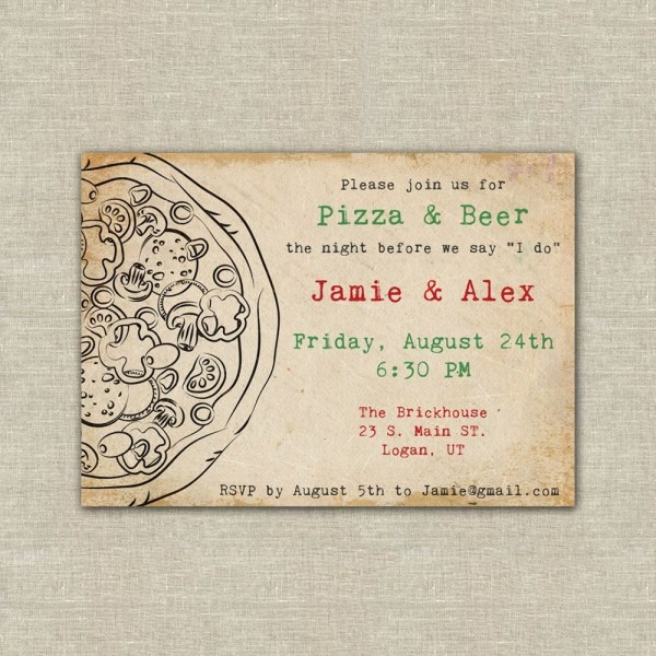 Pizza And Beer Party, Pizza Party Invitation, Wedding Rehearsal