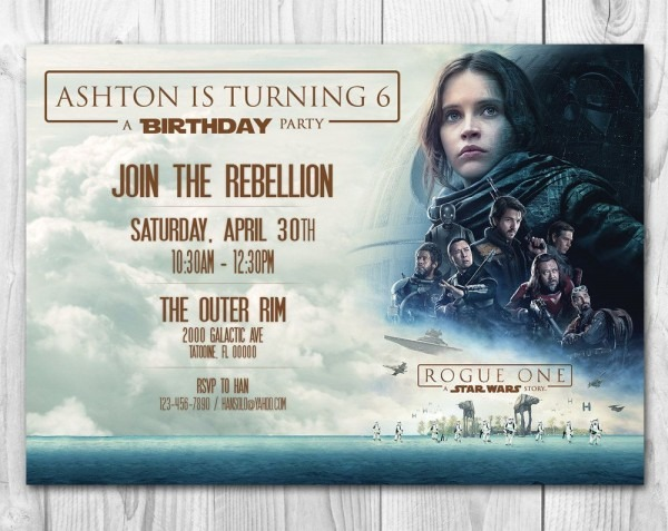 Rogue One Invitations, Star Wars Invitations, Star Wars Birthday