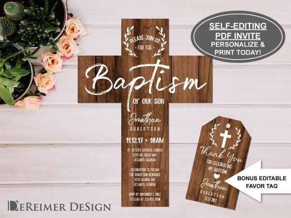 Rustic Baptism Invitation With Bonus Favor Tag, Self