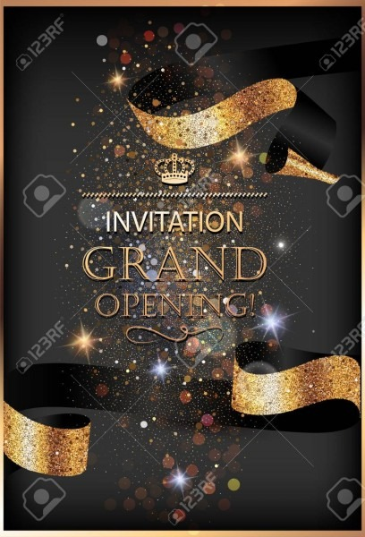 Grand Opening Invitation Gold Card With Sparkling Background