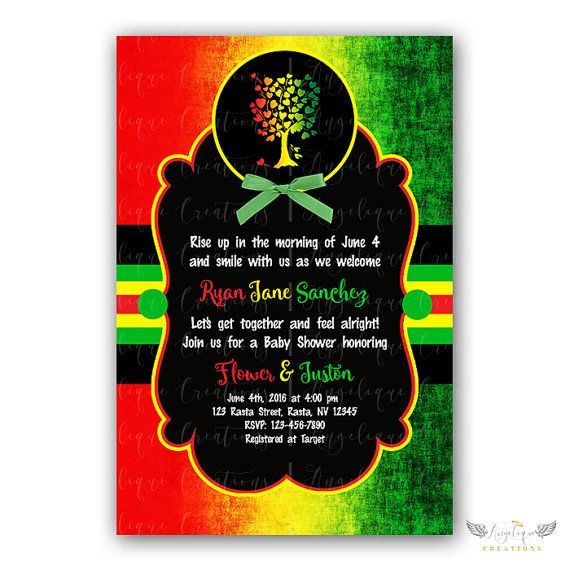 Rasta Baby Shower Invitations & Blank Digital Thank You Card To