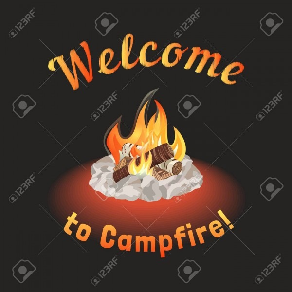 Campfire Icon  Freehand Drawn Cartoon Style  Fancy Letters Of
