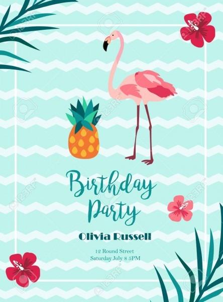 Bright Birthday Invitation In Hawaiiian Style With Flamingo And