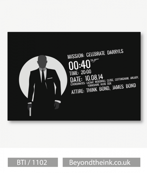Personalised James Bond 007 Invitations  Printed On Professional