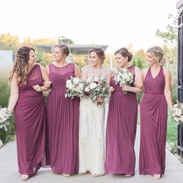 David's Bridal Bridesmaids In Mismatched Long Burgundy Bridesmaid