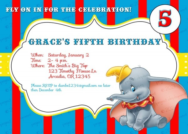 Custom Dumbo Birthday Invitations By Irrelephantdesigns On Etsy