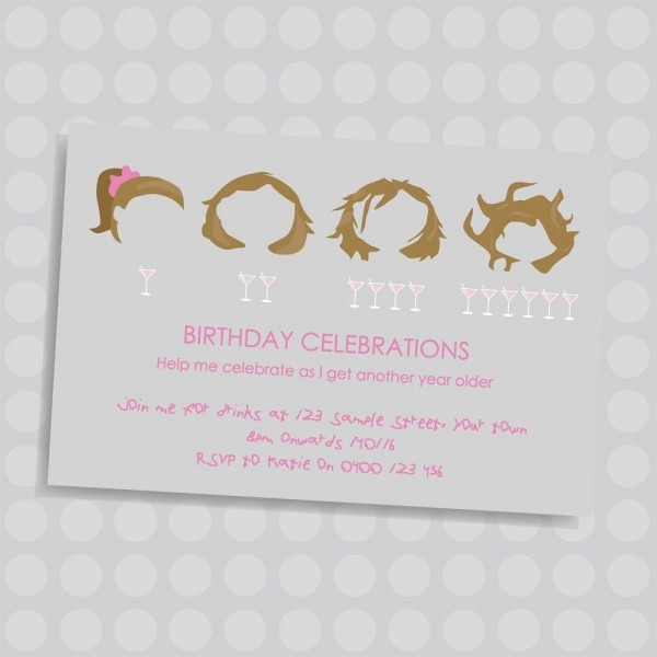 Girls Messy Hair  Adult Personalised Birthday Invitation, By Naomi
