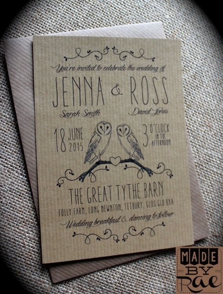 Kraft Owl Rustic Wedding Invitations Stationery, Also Available On