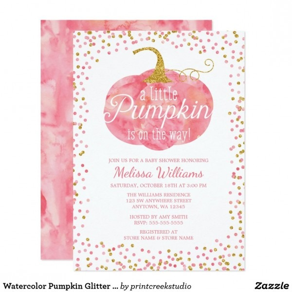 Watercolor Pumpkin Glitter Fall Girl Baby Shower Invitation