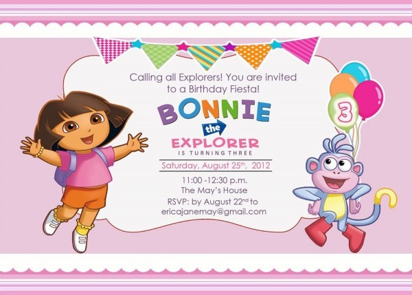 Download Free Template Dora The Explorer Birthday Party