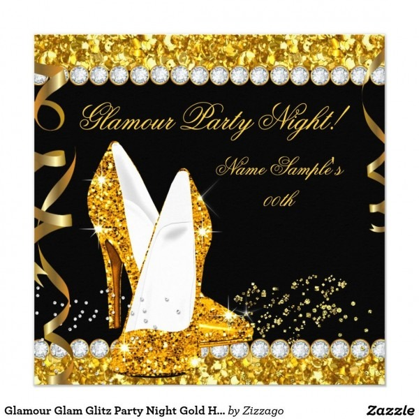 Glamour Glam Glitz Party Night Gold High Heels Invitation