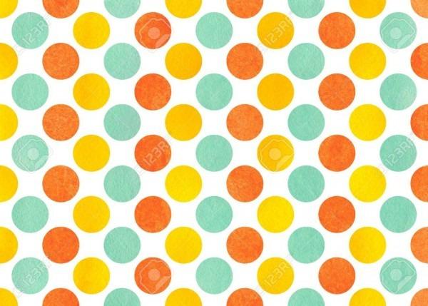 Watercolor Yellow, Seafoam Blue And Carrot Orange Polka Dot