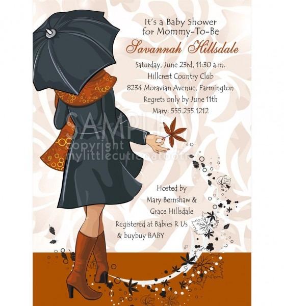 Baby Bump Shower Invitation   Autumn Magic, Burnt Orange