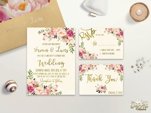 Printable Floral Wedding Invitations Suite That Will Be Envied And