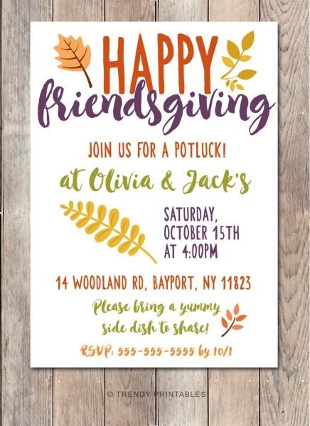 Potluck Invitation, Friendsgiving, Thanksgiving Invitation