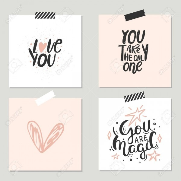 Unique Hand Lettering Romantic Quote For Design Greeting Cards