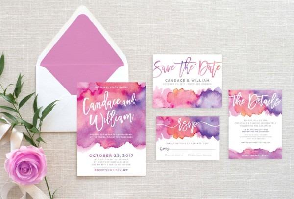 Printable Wedding Invitation Suite • Bright Pink And Purple