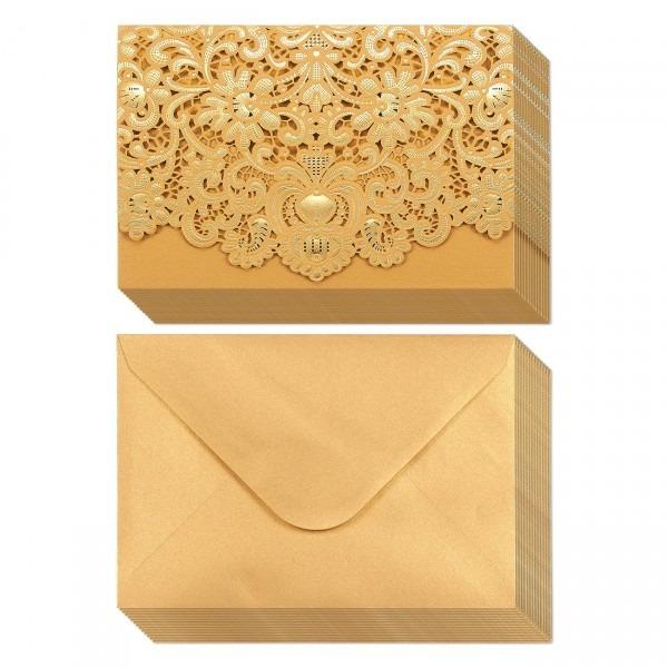 Amazon Com  25 Elegant Gold Blank Rsvp Cards, Response Postcard
