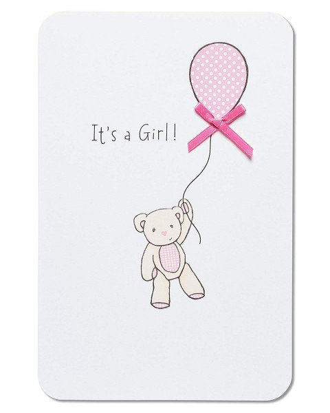 Amazon Com   American Greetings Bear With Balloon New Baby Girl