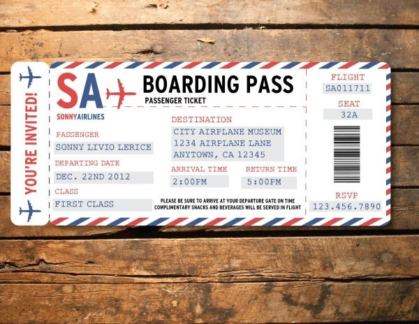 Printable Airplane Airline Birthday Party Baby Shower Ticket