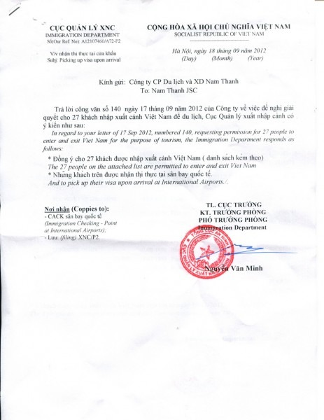 Approval Letter Or Invitation Letter For Vietnam Visa ( Voa