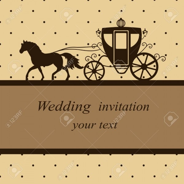 Invitation Card With Carriage And Horse In Vintage Style  Wedding