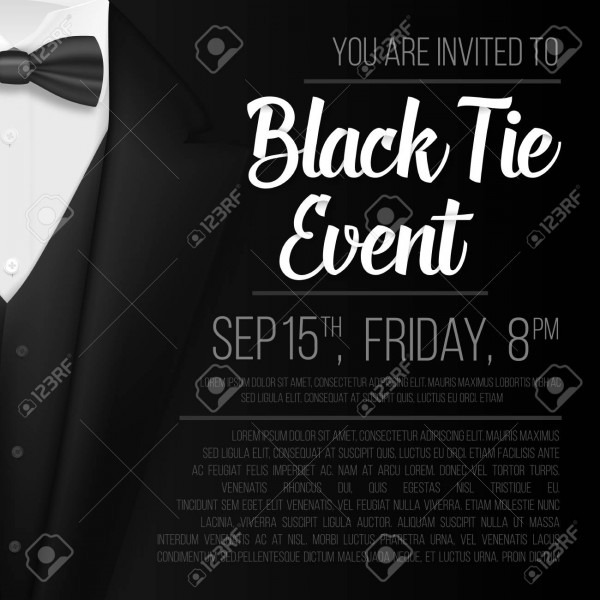 Illustration Of Realistic Vector Black Suit  Black Tie Event