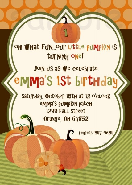 Pumpkin Birthday Party Invitation, Little Pumpkin, Orange, Brown