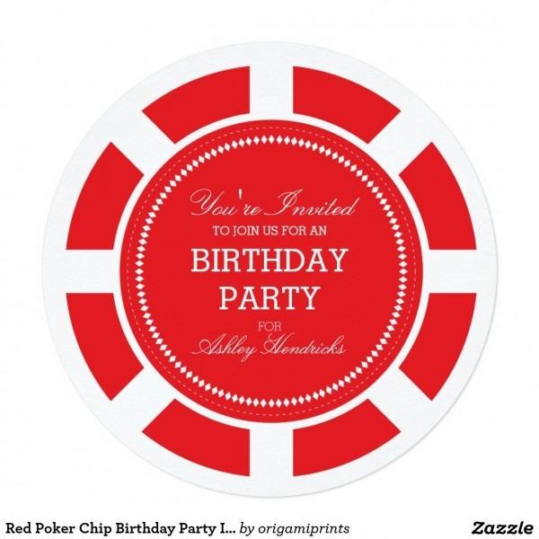 Red Poker Chip Birthday Party Invitation 5 25  Square Invitation