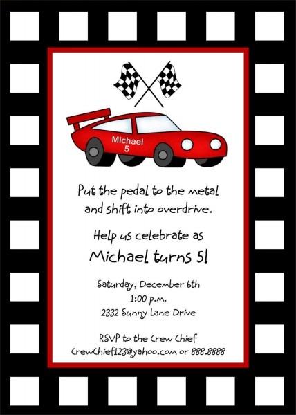 Race Car Invitation Template Free