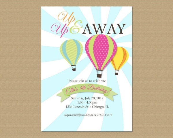 Hot Air Balloon Birthday Invitation, Printable Invitation