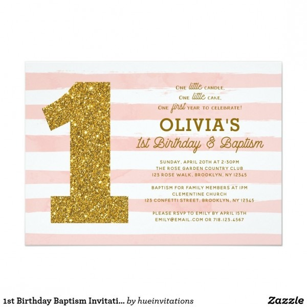 1st Birthday Baptism Invitation Pink White Gold