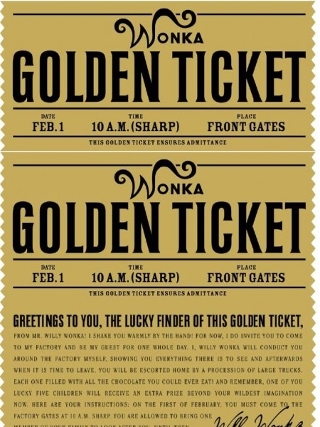 Free Printable Willy Wonka's Golden Ticket