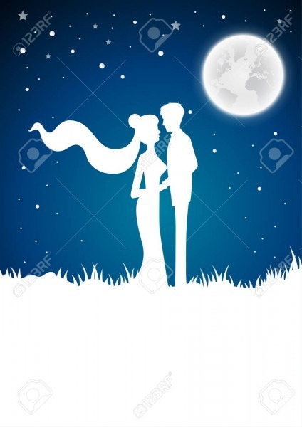 Wedding Invitation Card With Silhouette And Winter Full Moon