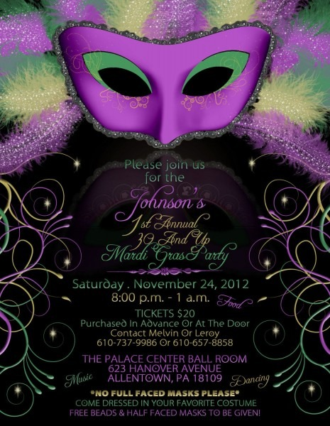 Mardi Gras Birthday Party Invitations