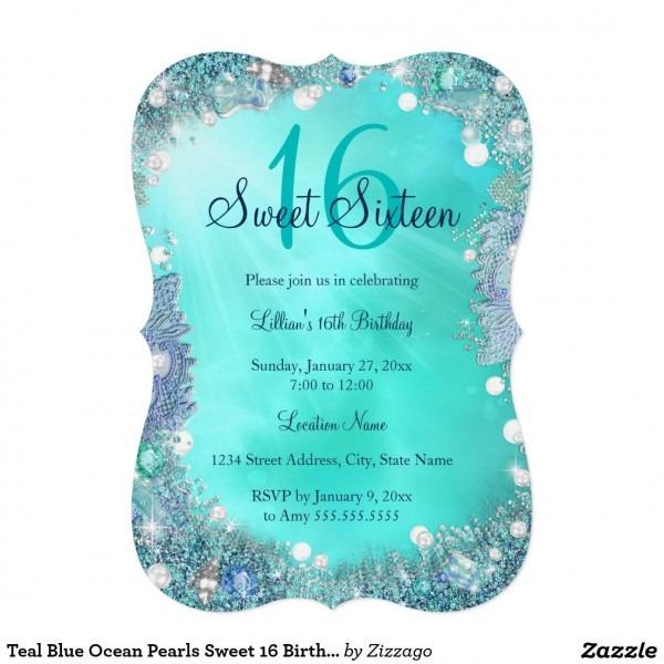 Teal Blue Ocean Pearls Sweet 16 Birthday Party 5x7 Paper