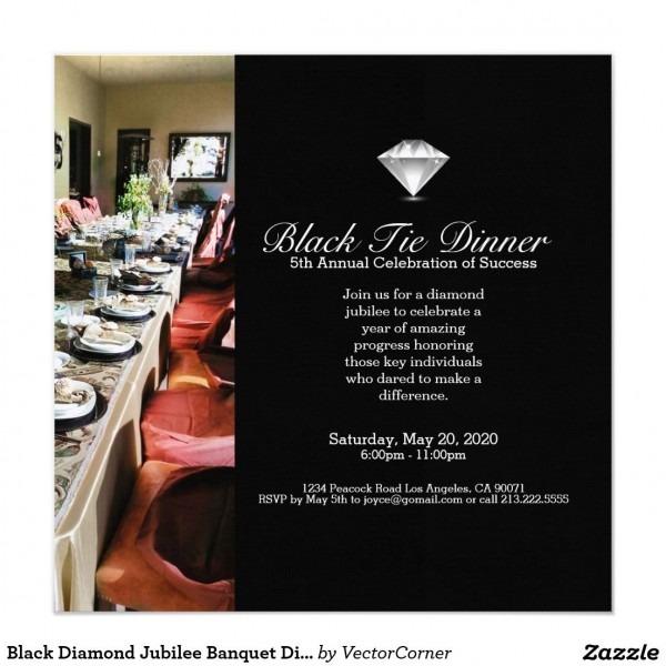 Black Diamond Jubilee Banquet Dinner Invitation