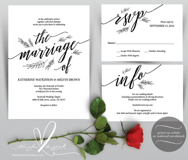 Wedding Invitation Cards Instant Download Printable Pdf Template