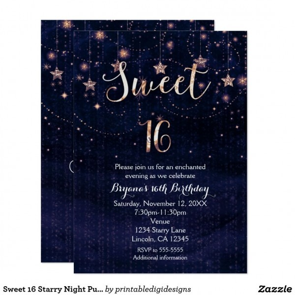 Sweet 16 Starry Night Purple & Gold Invitation In 2018