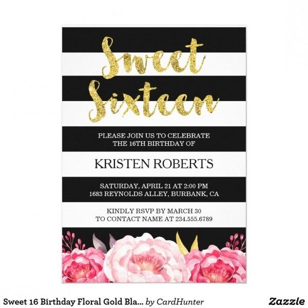 Sweet 16 Birthday Floral Gold Black White Stripes Invitation In