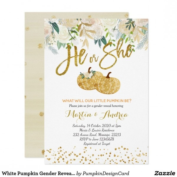 White Pumpkin Gender Reveal Invitation