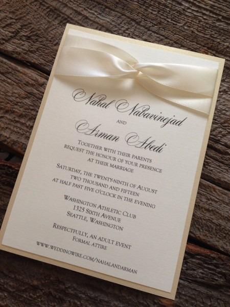 Elegant Wedding Invitation Set, Champagne Wedding Invitation