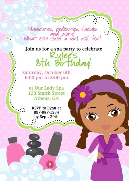 Printable African American Spa Birthday Party Invitation
