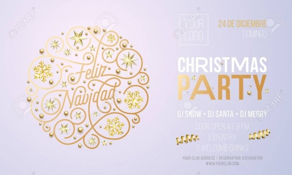 Christmas Party Invitation For Spanish Feliz Navidad Holiday