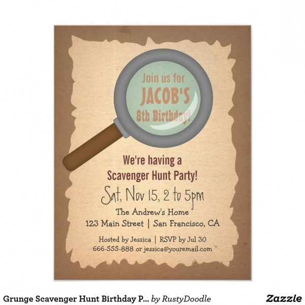 Grunge Scavenger Hunt Birthday Party Invitations
