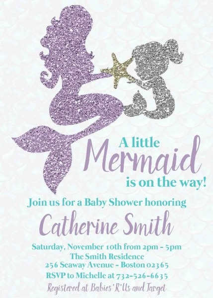 Mermaid Baby Shower Invitation Mother Baby Under The Sea Party