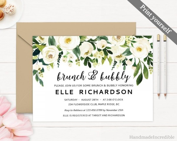Editable Brunch And Bubbly Invitation, Printable Greenery White