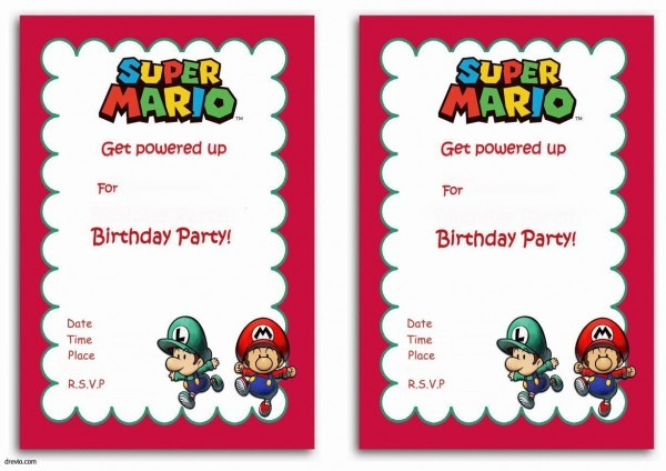 Free Printable Super Mario Bros Invitation Template