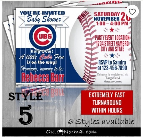 Chicago Cubs Baby Shower Baseball 4x6 Invitation