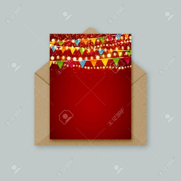 Christmas Party Vector Invitation Greeting Card Template With
